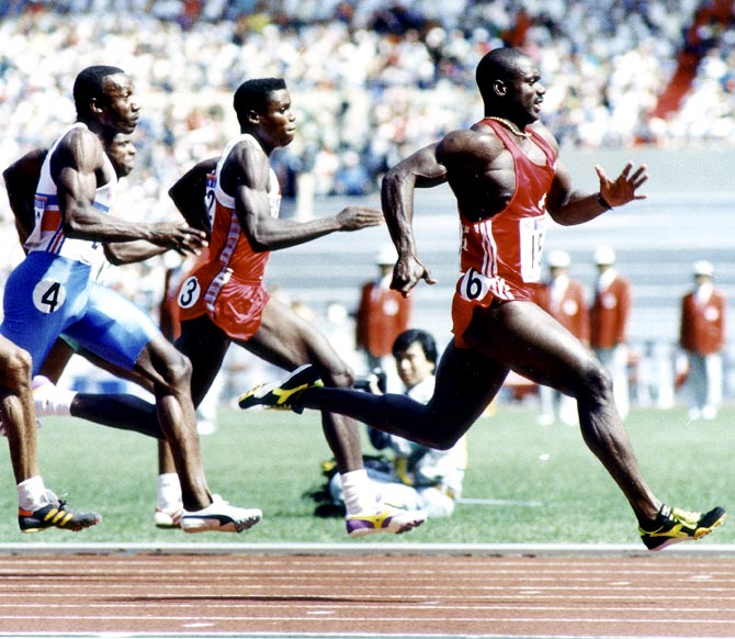Ben Johnson leads in the men's 100 metres final at the 1988 Summer Olympic Games in Seoul on September 24, 1988