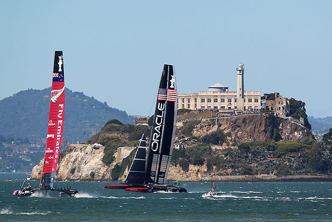 Emirates Team New Zealand skippered by Dean Barker in action against Oracle Team USA skippered by James Spithill during the final race of the America's Cup Finals on in San Francisco, California on Wednesday