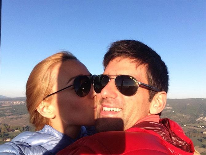 Jelena Ristic kisses Novak Djokovic