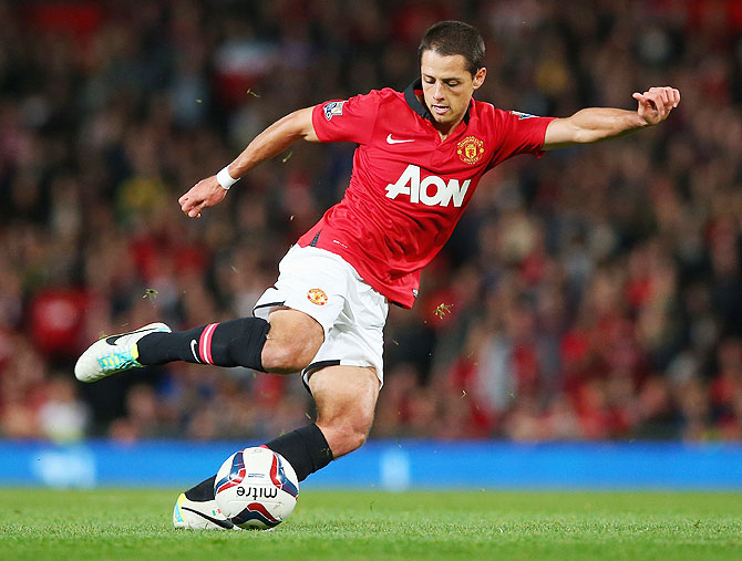 Javier Hernandez of Manchester United in action against Manchester United during their League Cup match at Old Trafford on Wednesday