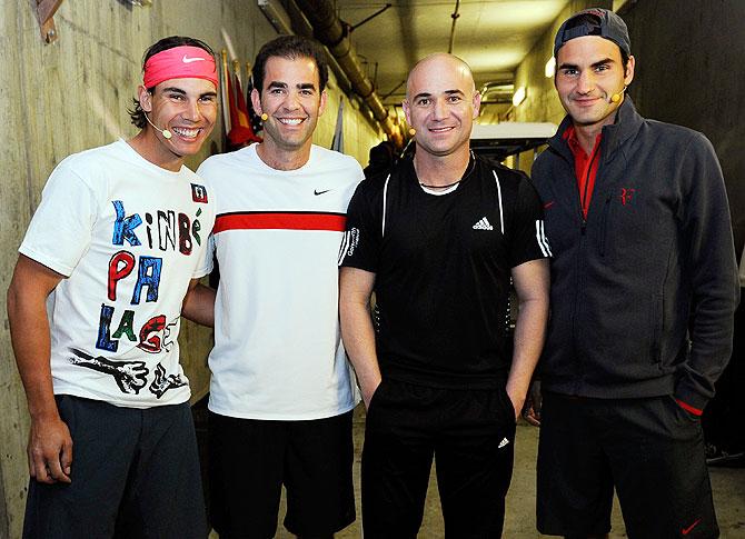 Rafael Nadal, Andre Agassi, Pete Sampras and Roger Federer