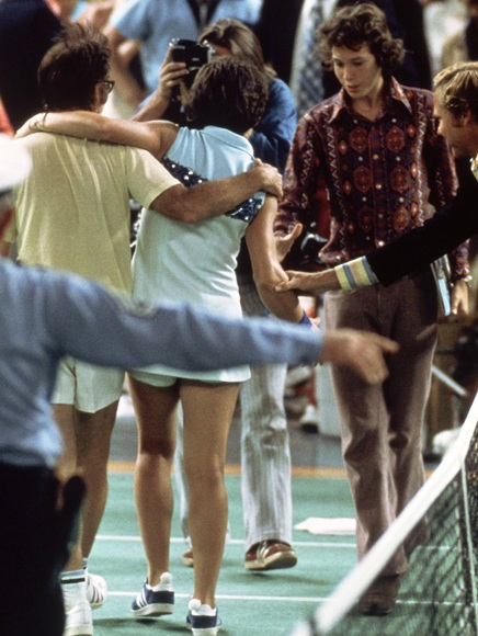 Bobby Riggs of the USA comes off court defeated by Billie   Jean-King of the USA after a Battle of the Sexes Challenge