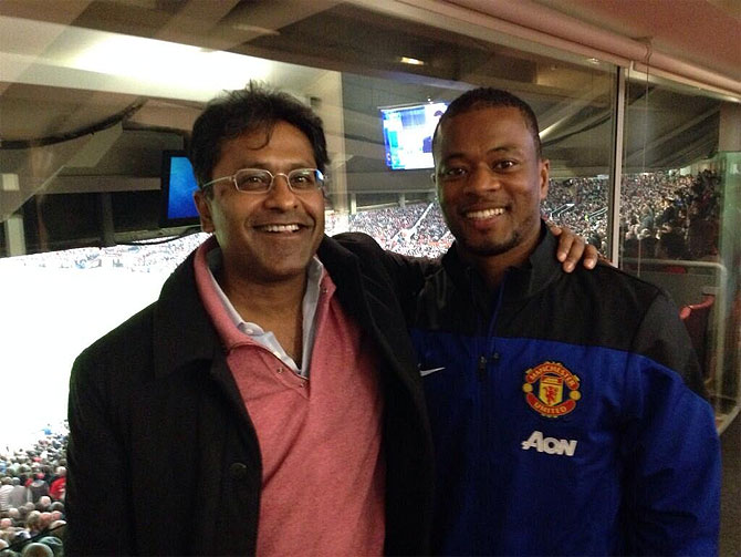 Lalit Modi with Manchester United's Patrice Evra