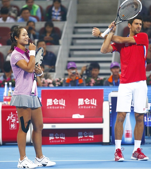 Serbia's Novak Djokovic (right) and China's Li Na