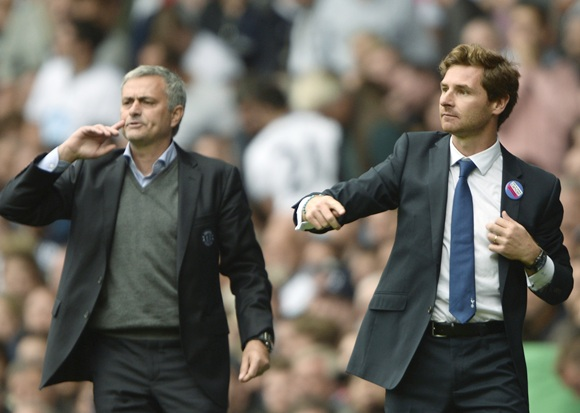 Tottenham Hotspur's manager Andre Villas-Boas (right) and Chelsea's Jose Mourinho react