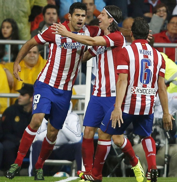 Atletico Madrid's Diego Costa celebrates his goal