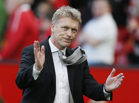 Manchester United manager David Moyes reacts