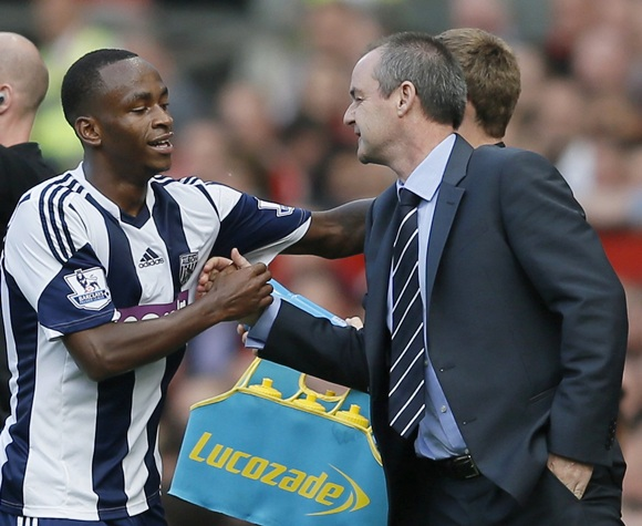 West Bromwich Albion's Saido Berahino (left) celebrates with manager Steve Clarke