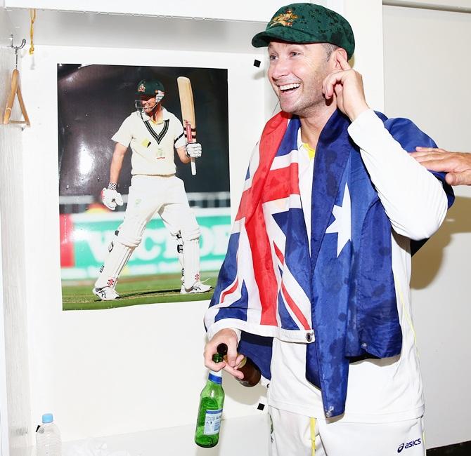 Michael Clarke of Australia celebrates victory