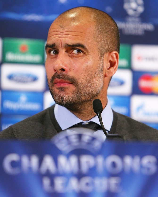 Pep Guardiola the coach of FC Bayern Muenchen faces the media
