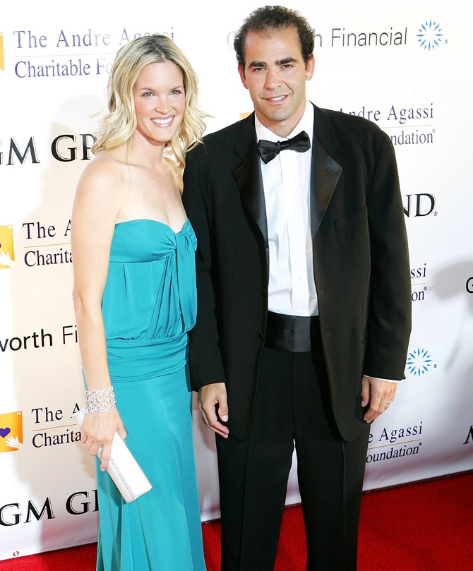 Actress Bridgette Wilson and tennis player Pete Sampras