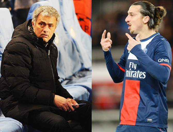 Zlatan Ibrahimovic of Paris Saint-Germain, right, and Jose Mourinho