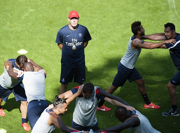 Paris Saint-Germain coach Laurent Blanc attends a training session