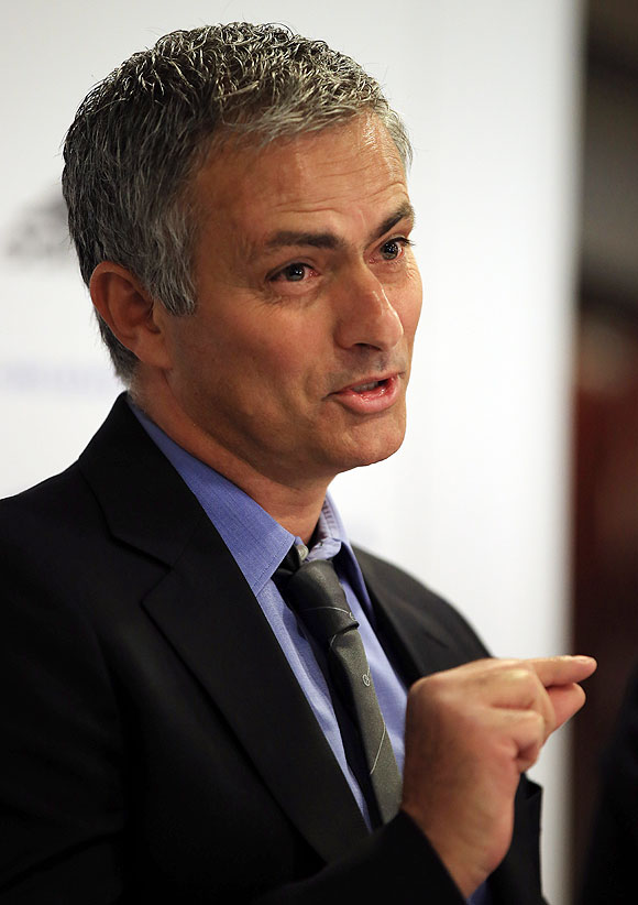 Chelsea manager Jose Mourinho talks to the media
