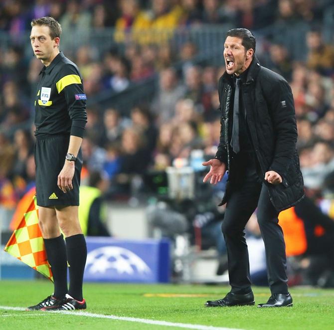 Diego Simeone, coach of Club Atletico de Madrid shouts instructions