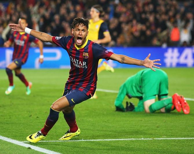 Neymar of Barcelona celebrates his goal