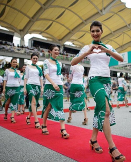 Grid girls at the Malaysian GP in Kuala Lumpur