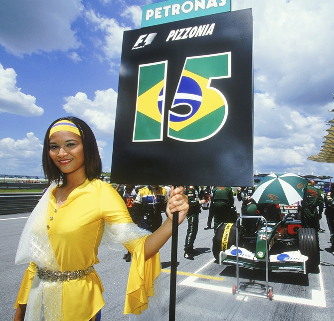 A Jaguar racing glamour grid girl during the Formula One Malaysian Grand Prix on March 23, 2003 at the Sepang International Circuit