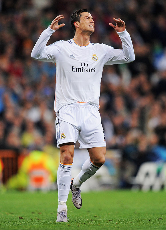 Cristiano Ronaldo of Real Madrid reacts