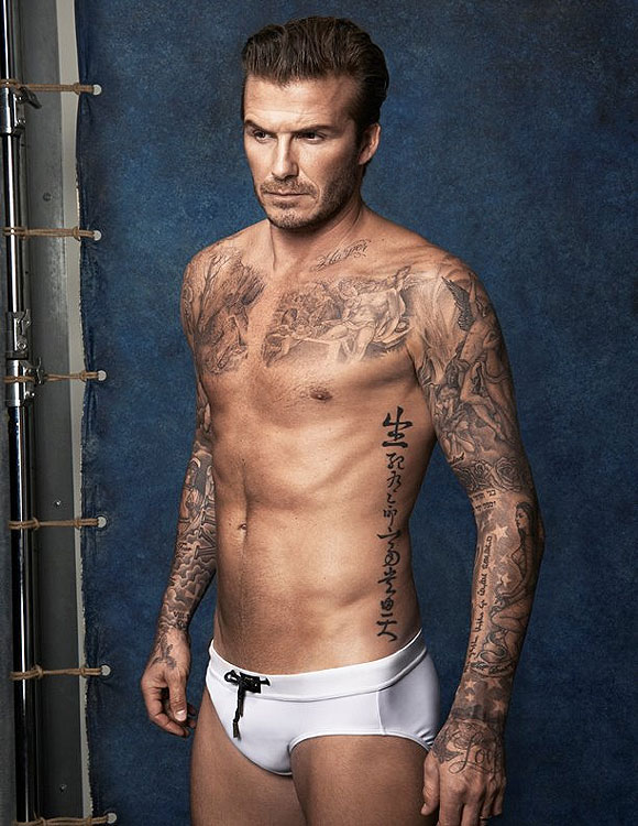 David Beckham poses in the new swimwear collection