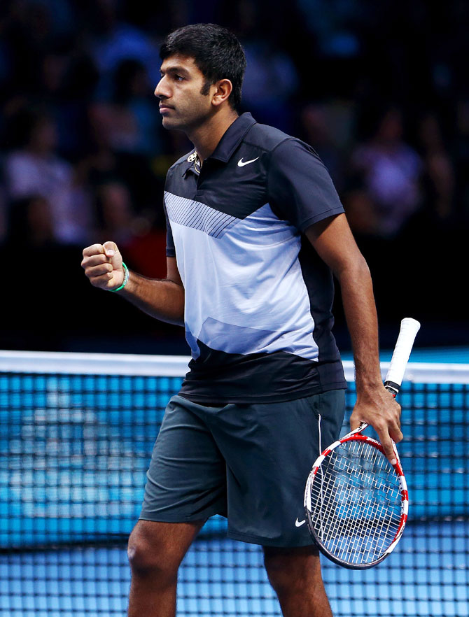 Rohan Bopanna of India celebrates victory