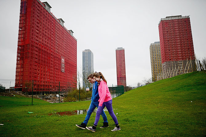 A general view of the iconic Red Road flats in Glasgow, Scotland. Five of the six tower blocks are to be demolished, which will apparently take just 15 seconds, during the opening ceremony of the 2014 Commonwealth Games being held in the city on July 23, 2014
