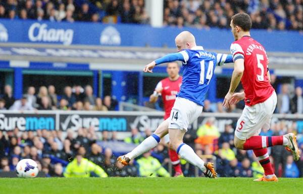 Steven Naismith of Everton scores the first goal during the Barclays Premier League match against Arsenal at Goodison Park