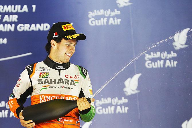 Sergio Perez of Mexico and Force India celebrates finishing third during the Bahrain Formula One Grand Prix at the Bahrain International Circuit in Sakhir, Bahrain on Sunday