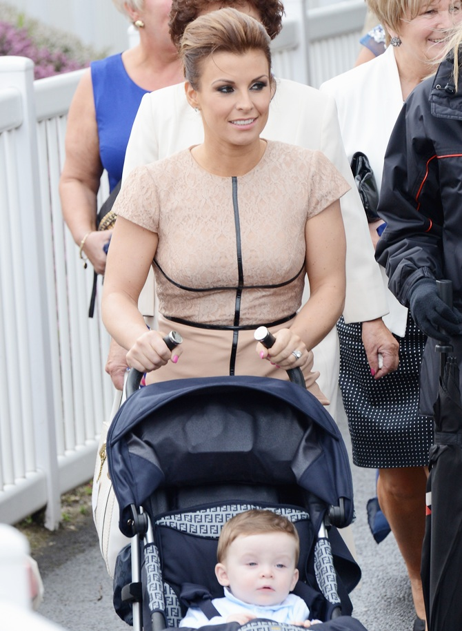 Coleen Rooney arrives with son Klay Anthony