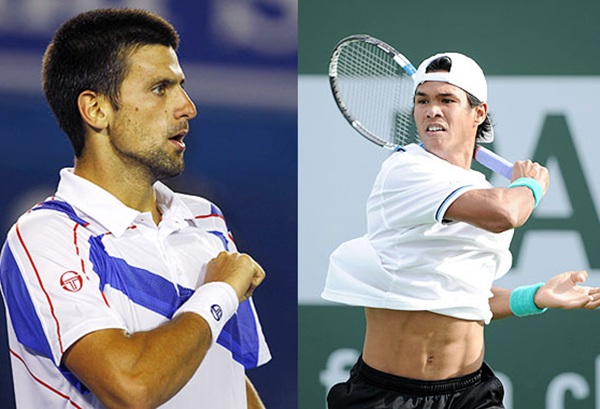 Novak Djokovic left and Somdev Devvarman