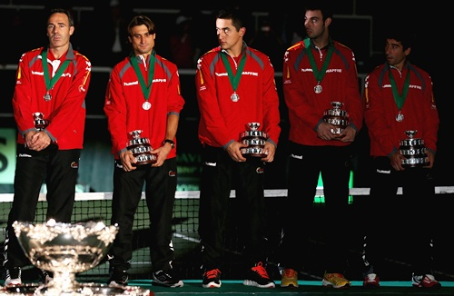 Spain team Captain Alex Corretja,David Ferrer,Nicolas Almagro,Marcel Granollers and Marc Lopez