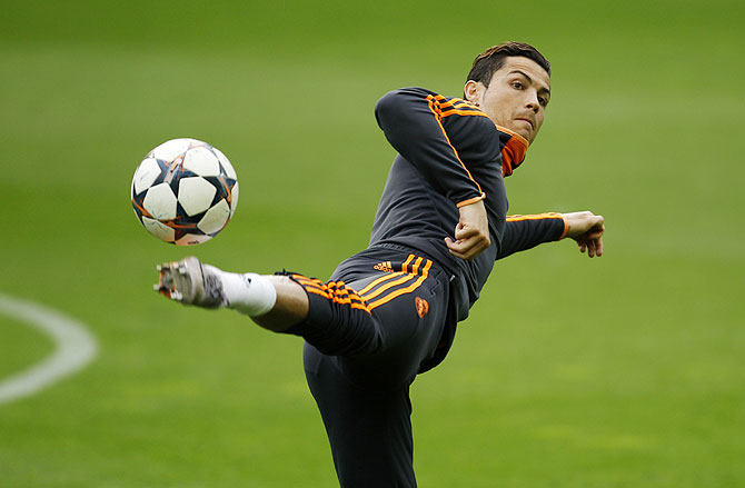 Real Madrid's Cristiano Ronaldo during a training session in Dortmund on Monday