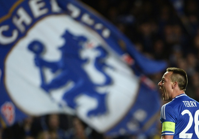 Chelsea's John Terry reacts at the end of their Champions League quarter-final match