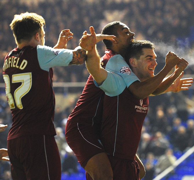 Sam Vokes of Burnley celebrates