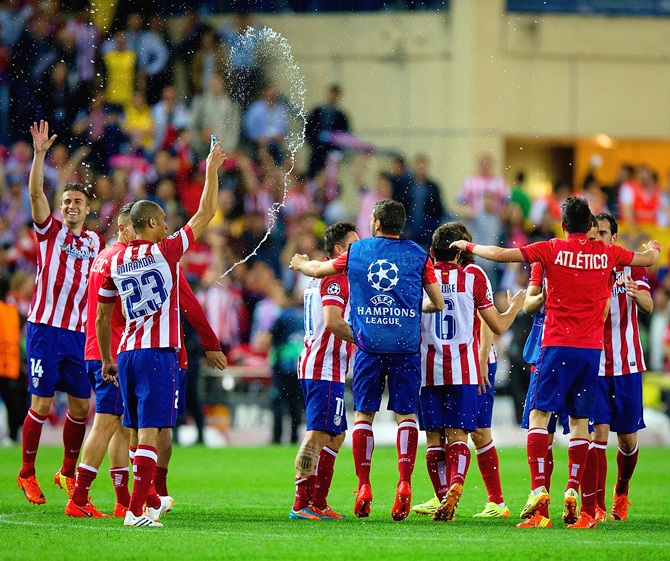 Club Atletico de Madrid celebrate victory