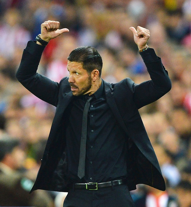 Diego Simeone, Coach of Club Atletico de Madrid gestures