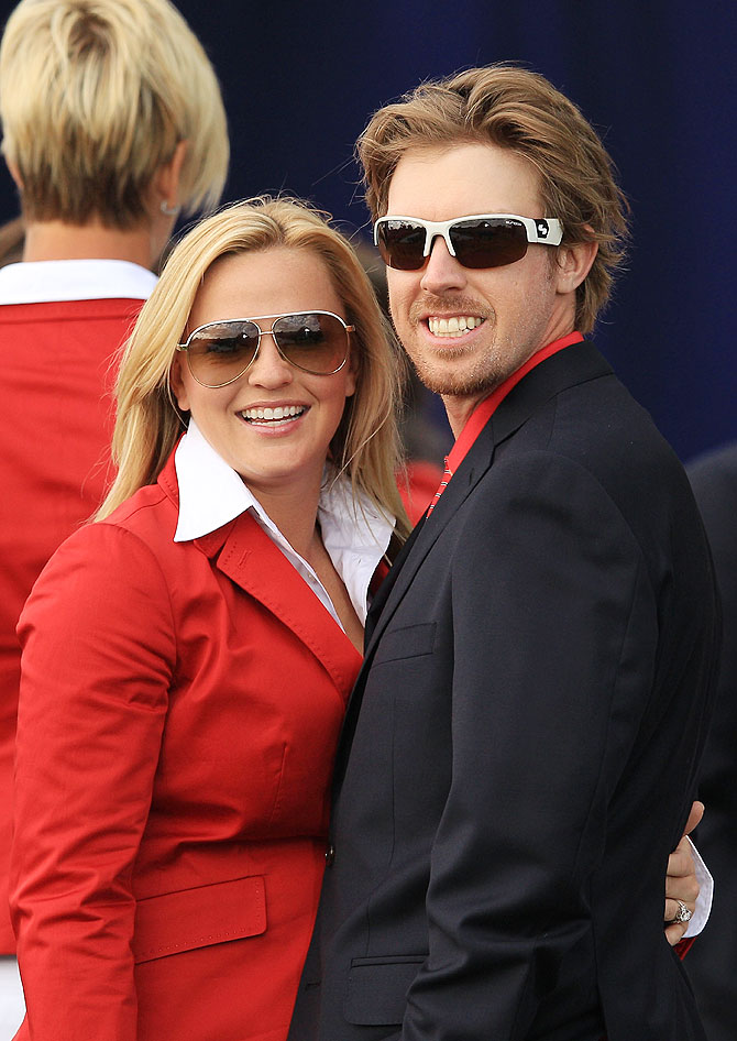 Hunter Mahan of the U.S. Team and his wife Kandi Mahan