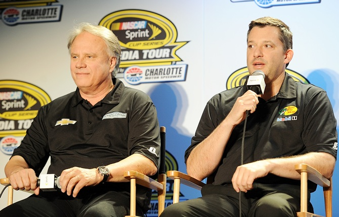 Tony Stewart (right), co-owner of Stewart-Haas Racing and Gene Haas, co-owner of Stewart-Haas Racing