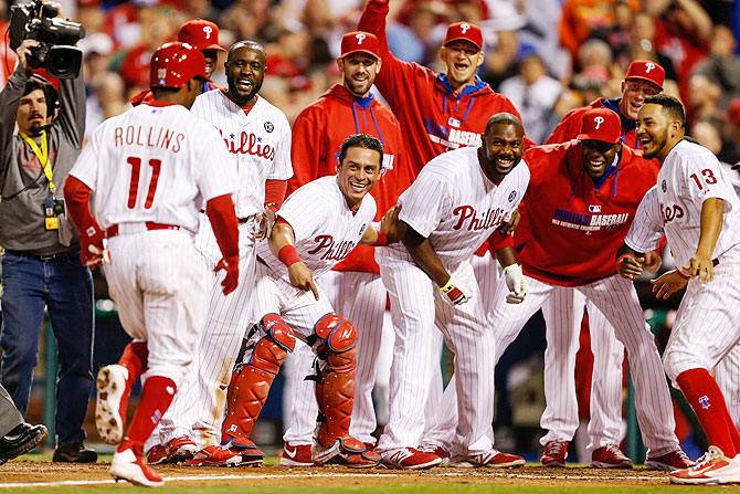 Philadelphia Phillies players celebrate