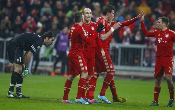 Bayern Munich players celebrate a goal