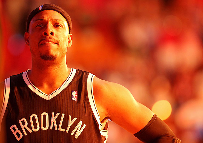 Paul Pierce #34 of the Brooklyn Nets
