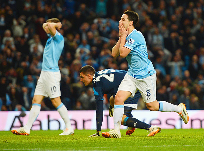 Samir Nasri of Manchester City reacts to a missed chance on goal against Sunderland on Wednesday