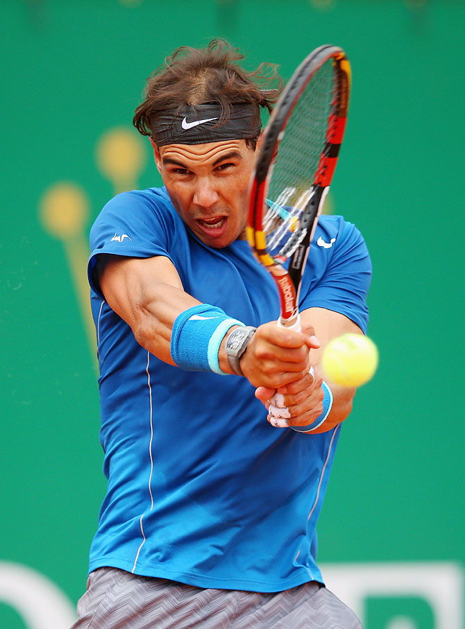 Rafael Nadal of Spain in action against Teymuraz Gabashvili of Russia at the ATP Monte Carlo Masters in Monte-Carlo, Monaco on Wednesday