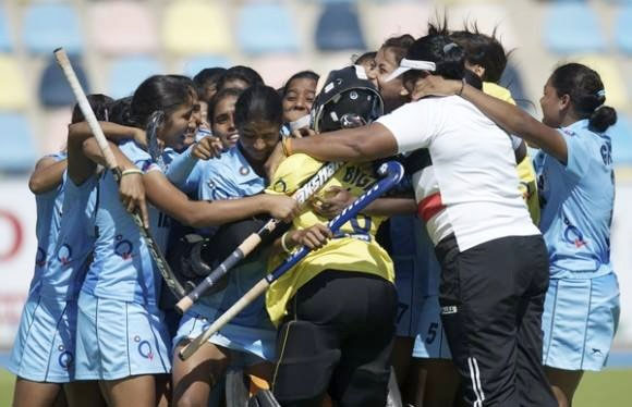 The Indian women's team celebrate