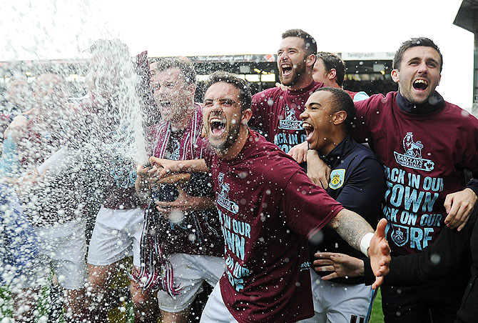 Burnley celebrate following the Sky Bet Championship match between Burnley and Wigan Athletic at Turf Moor in Burnley, England on Monday