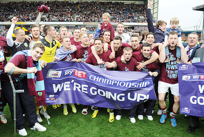Burnley celebrate following the Sky Bet Championship match between Burnley and Wigan Athletic at Turf Moor in Burnley on Monday