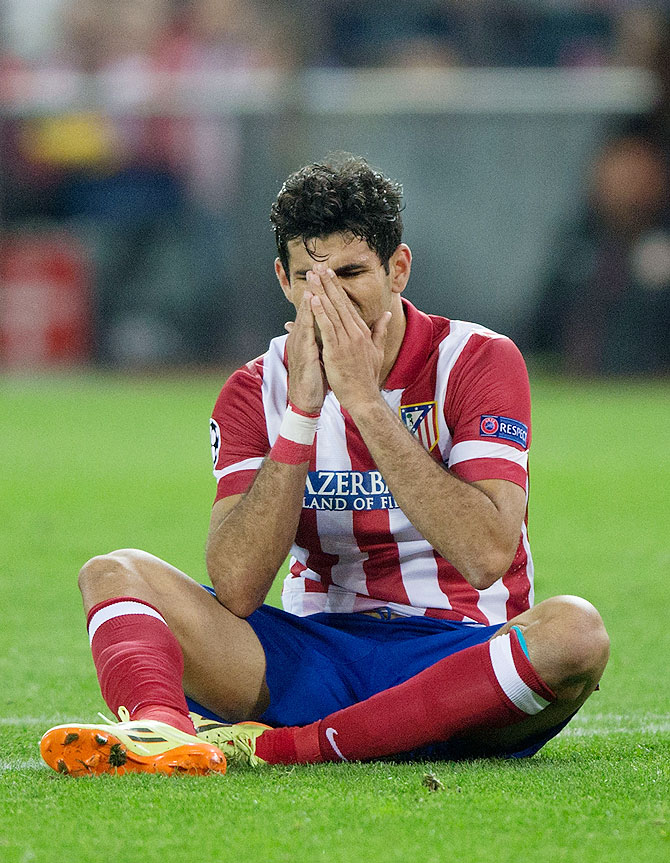 Diego Costa of Atletico de Madrid reacts after failing to score against Chelsea on Tuesday