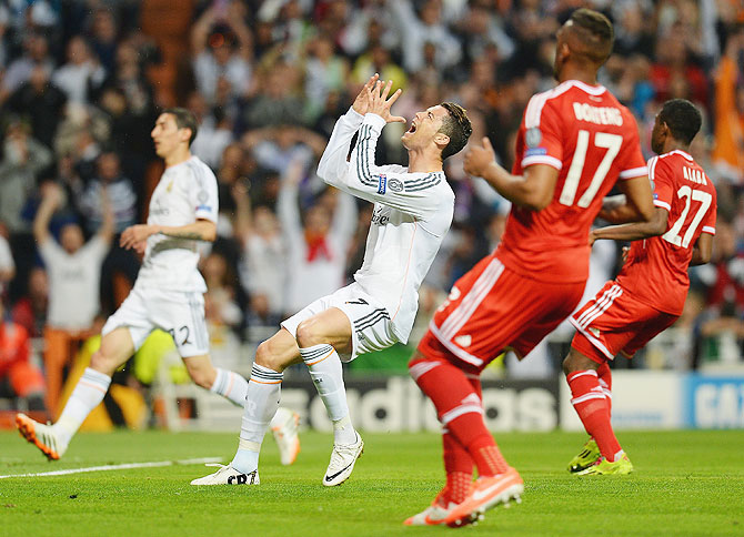 Cristiano Ronaldo of Real Madrid reacts after missing a chance at goal on Wednesday