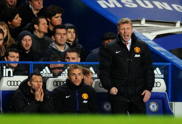 David Moyes in the Manchester United dugout