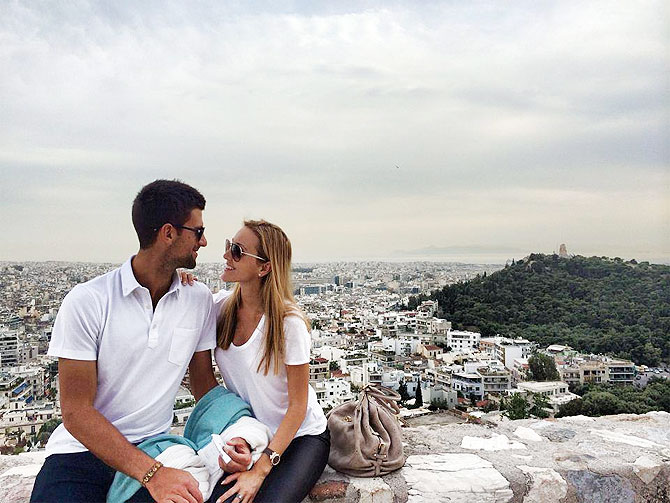 Novak Djokovic and girlfriend Jelena Ristic at their holiday in Greece